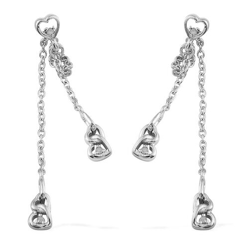 Diamond (Rnd) Earrings (with Push Back) in Platinum Overlay Sterling Silver 0.060 Ct.