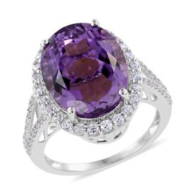 9K W Gold Zambian Amethyst (Ovl 8.00 Ct), Natural Cambodian Zircon Ring 9.000 Ct.