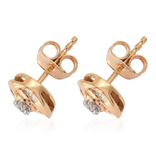 Diamond (Rnd) Stud Earrings (with Push Back) in 14K Gold Overlay Sterling Silver 0.150 Ct.