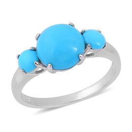 Arizona Sleeping Beauty Turquoise (Rnd 2.75 Ct) 3 Stone Ring in Platinum Overlay Sterling Silver 3.410 Ct.