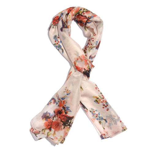100% Mulberry Silk Peach, Red and Multi Colour Floral and Butterfly Pattern Scarf (Size 180x50 Cm)