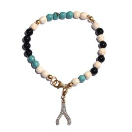 Black Agate and Howlite Wishbone Charm Silver Friendship Bracelet (Size 7.5) in 14K Gold Overlay 26.470 Ct.
