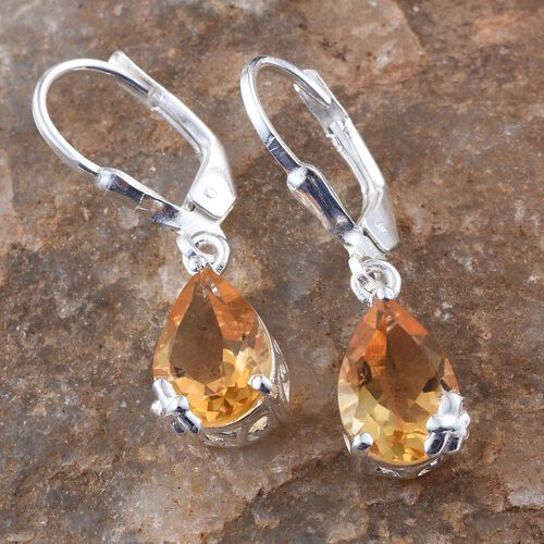 Citrine (Pear) Earrings in Sterling Silver 3.500 Ct.
