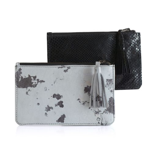 Set of 2 - Marble Print Genuine Leather Tassel Pouch with Card Slot inside (Size 19.5x12.5 Cm)