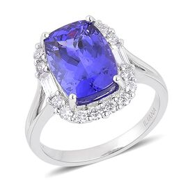 ILIANA 18K W Gold AAA Tanzanite (Cush 6.00 Ct), Diamond Ring 6.760 Ct.