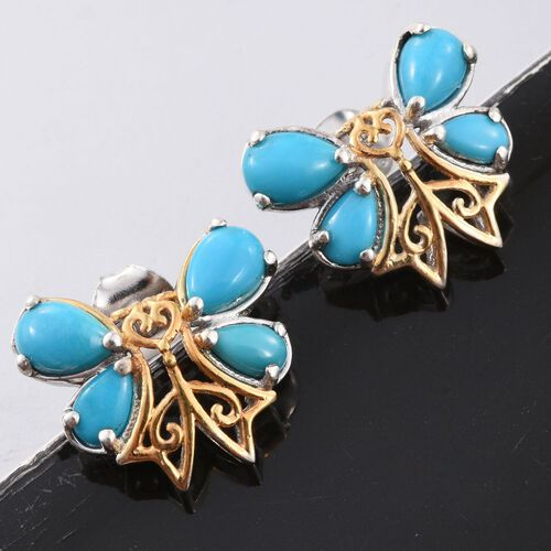 Limited Edition - Designer Inspired - Arizona Sleeping Beauty Turquoise (Pear) Butterfly Stud Earrings (with Push Back) Platinum and Yellow Gold Overlay Sterling Silver 2.210 Ct.