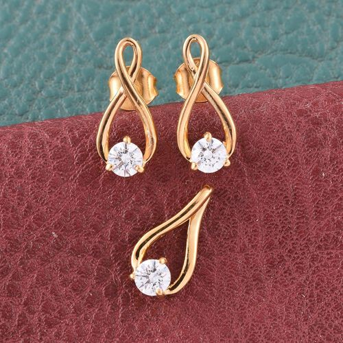 J Francis - 14K Gold Overlay Sterling Silver (Rnd) Solitaire Pendant and Earrings (with Push Back) Made with SWAROVSKI ZIRCONIA