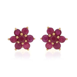 AAA Burmese Ruby (Rnd) Floral Stud Earrings in 14K Gold Overlay Sterling Silver 1.250 Ct.