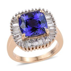 ILIANA 18K Y Gold AAA Tanzanite (Cush 6.65 Ct), Diamond (SI/ G-H) Ring 8.500 Ct.