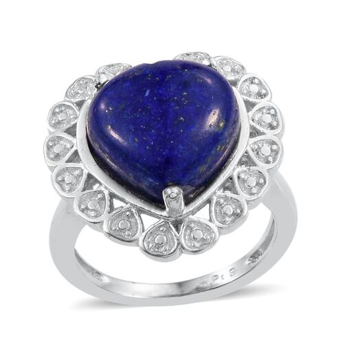 Lapis Lazuli (Hrt) Solitaire Ring in ION Plated Platinum Bond 6.500 Ct.