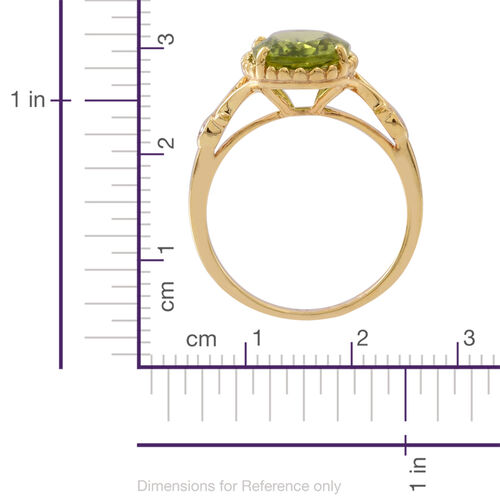 AA Hebei Peridot (Ovl 3.85 Ct), Natural Cambodian White Zircon Ring in 14K Gold Overlay Sterling Silver 4.000 Ct.