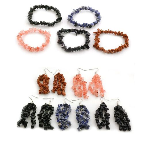Sodalite, Strawberry Quartz, Green, Blue and Goldstone 5 Pcs Stretchable Bracelet and Hook Earrings in Stainless Steel