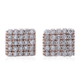 Limited Edition- 9K R Gold Natural Pink Diamond (Rnd) Stud Earrings (with Push Back) 0.250 Ct.