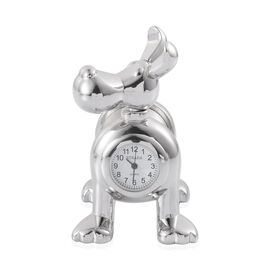 STRADA Japanese Movement Slinky Dog Table Clock in Silver Tone