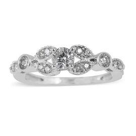 14K White Gold IGI Certified Diamond (Rnd) (I2/G-H) Ring 0.500 Ct.