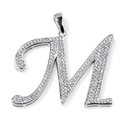 ELANZA AAA Simulated White Diamond M Initial Pendant in Platinum Overlay Sterling Silver