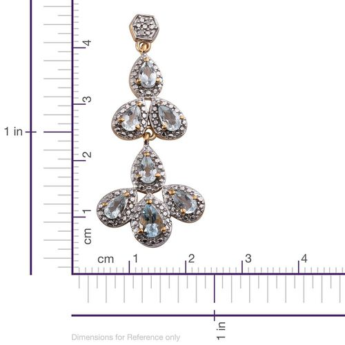 Espirito Santo Aquamarine (Pear), Diamond Earrings in 14K Gold Overlay Sterling Silver 2.780 Ct.