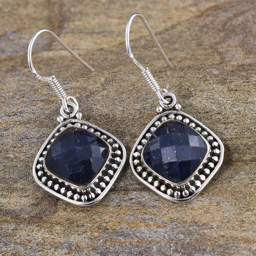 Enhanced Blue Sapphire (Cush) Hook Earrings in Sterling Silver 10.030 Ct.