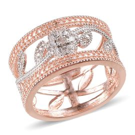 Diamond (Rnd) Floral and Leaves Band Ring in ION Plated 18K Rose Gold Bond