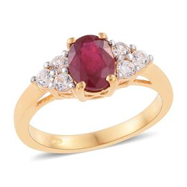 African Ruby (Ovl 2.00 Ct), Simulated Diamond Ring in 14K Gold Overlay Sterling Silver 2.750 Ct.