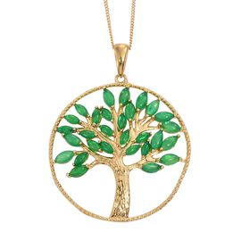 Green Ethiopian Opal (Mrq) Tree of Life Pendant with Chain in 14K Gold Overlay Sterling Silver 2.250 Ct.