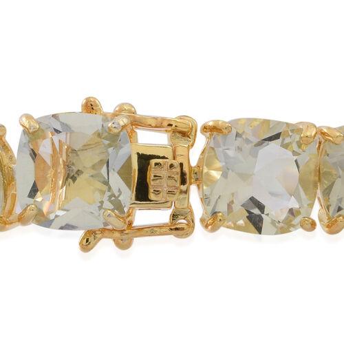 Green Amethyst (Cush) Bracelet (Size 7.5) in 14K Gold Overlay Sterling Silver 65.000 Ct.
