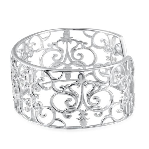 Platinum Overlay Sterling Silver Cuff Bangle (Size 7.5), Silver wt 35.00 Gms.