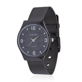 STRADA Japanese Movement Black Dial Water Resistant Watch in Black Tone with Stainless Steel Back