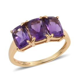 Amethyst (Cush) Trilogy Ring in 14K Gold Overlay Sterling Silver 2.500 Ct.