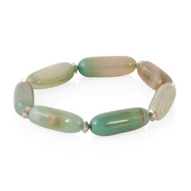 Green Agate Stretchable Bracelet (Size 8) in Silver Bond 180.000 Ct.