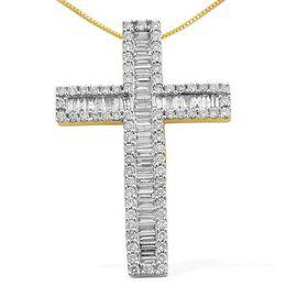 ILIANA 18K Y Gold IGI Certified Diamond (Bgt) (F-H/ VS-SI) Cross Pendant With Chain 2.000 Ct.