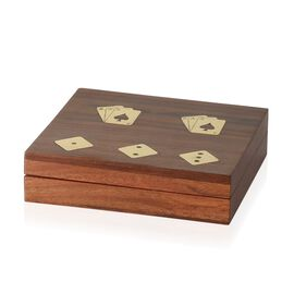 Home Decor - Brass Inlay Indian Rosewood Square Shape Playing Cards and Dice Holder Box (Size 4x15x13.5 Cm)