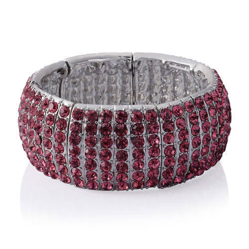 AAA Pink Austrian Crystal 7 Row Stretchable Bracelet (Size 7.5) in Silver Tone