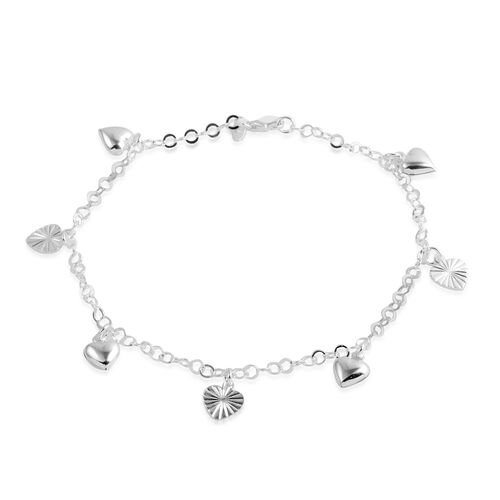 Close Out Deal Sterling Silver Hearts Charm Anklet (Size 10), Silver wt 5.80 Gms.