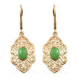 Green Jade (Ovl) Lever Back Earrings in 14K Gold Overlay Sterling Silver 2.000 Ct.