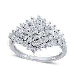 9K W Gold SGL Certified Diamond (Rnd) (I3/G-H) Cluster Ring 1.500 Ct.