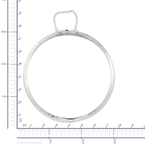 Designer Inspired Sterling Silver Diamond Cut Bangle (Size 7.5), Silver wt 9.05 Gms.