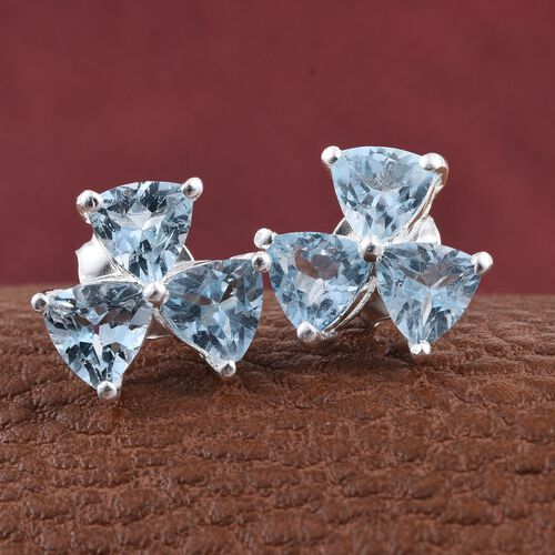 Sky Blue Topaz (Trl) Stud Earrings (with Push Back) in Sterling Silver 3.000 Ct.