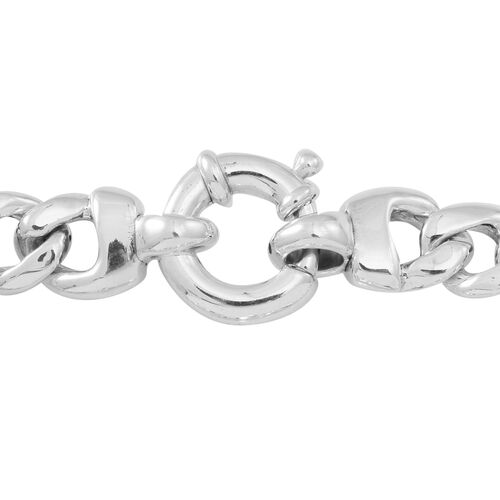 Statement Collection Sterling Silver Dragon Head Curb Bracelet (Size 7.5), Silver wt 18.50 Gms.