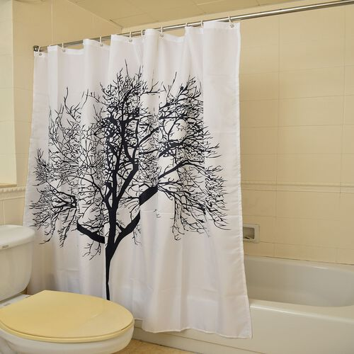 Black Colour Tree Pattern White Colour Waterproof Shower Curtain with 12 Hooks (Size 180X180 Cm)