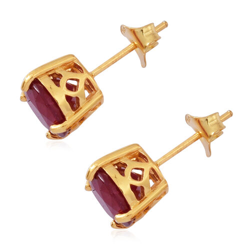 African Ruby (Rnd) Stud Earrings (with Push Back) in 14K Gold Overlay Sterling Silver 5.500 Ct.