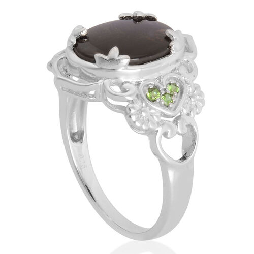 Canadian Ammolite (Ovl 3.25 Ct), Russian Diopside Ring in Rhodium Plated Sterling Silver 3.500 Ct.