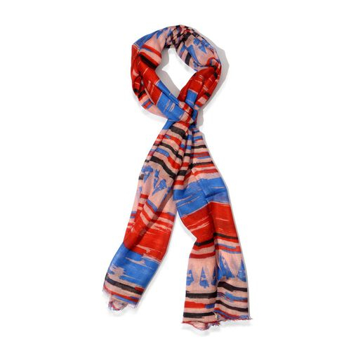 100% Modal Digital Multi Colour Stripy Pattern Scarf (Size180x70 Cm)