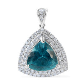 14K W Gold AAAA Intense Blue Apatite (Trl 5.30 Ct), Diamond (I2 /G-H) Pendant 6.160 Ct.