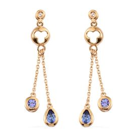 Tanzanite (Pear), White Topaz Earrings (with Push Back) in 14K Gold Overlay Sterling Silver 1.250 Ct.