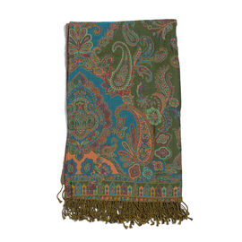 80% Cotton and 20% Wool Green, Blue and Multi Colour Paisley Pattern Jacquard Throw with Tassels (Size 180X140 Cm)