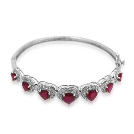 AAA African Ruby (Hrt) Bangle in Rhodium Plated Sterling Silver (Size 7.5) 9.510 Ct.