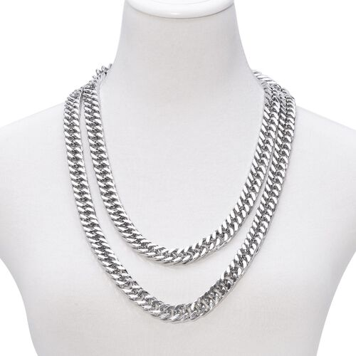 Designer Inspired Curb Necklace (Size 56) in Stainless Steel