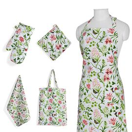 Kitchen Textiles - 100% Cotton Red, White and Green Colour Flower and Leaves Printed Apron (75x65 Cm), Glove (32x18 Cm), Pot Holder (20x20 Cm), Kitchen Towel (65x40) and Bag (45x35 Cm)