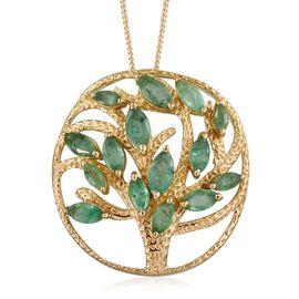 GP Kagem Zambian Emerald (Mrq), Kanchanaburi Blue Sapphire Tree Pendant With Chain in 14K Gold Overlay Sterling Silver 2.500 Ct.